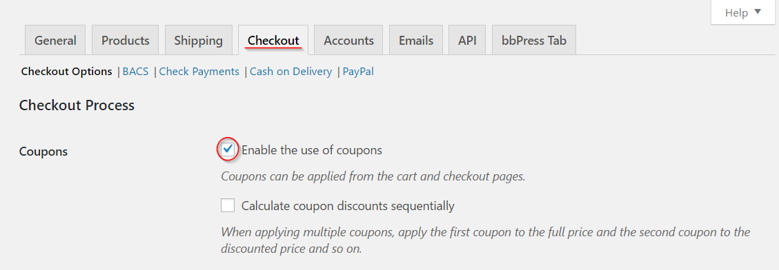 Woocommerce how to manage coupons on your store learnwoo enabling coupons fandeluxe Choice Image