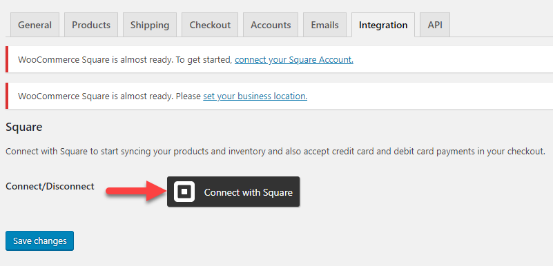 screenshot of settings page for WooCommerce Square integration for the WooCommerce multichannel article